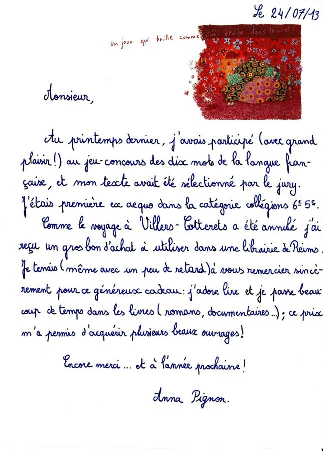 Lettre de remerciement d'une lauréate 2013 à François